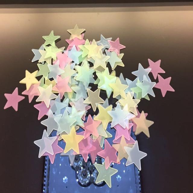 50pcs 3D Stars Glow In Dark Luminous Fluorescent Plastic Wall Sticker Home Decor Decal Wallpaper Decorative Special Festivel 3