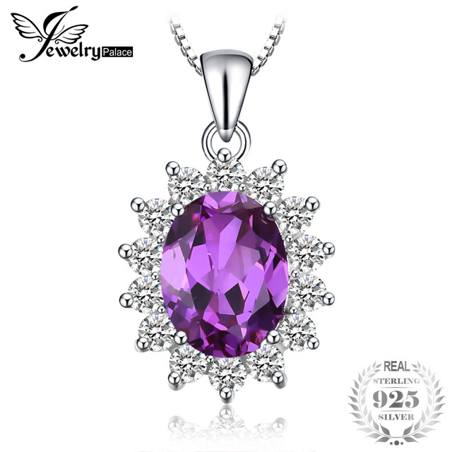 Jewelrypalace Principessa Diana William Kate Middleton di 3.2ct Creato Alessandrite Zaffiro Ciondolo In Argento Sterling 925 Per Le Donne