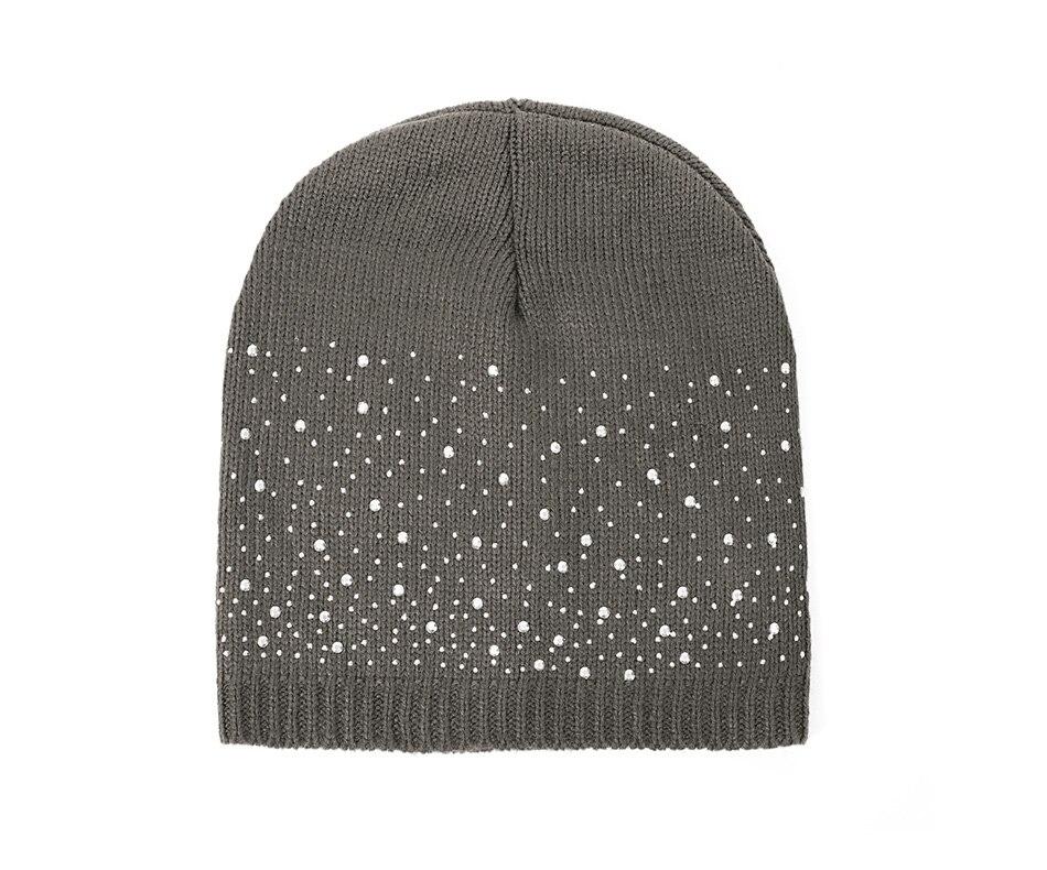 4f44358c Winter Autumn Beanie Hats Women Soft Knitting Beanies Hat Female Fashion  Rhinestone Cotton Hat Cap Rhinestone pullover knit cap