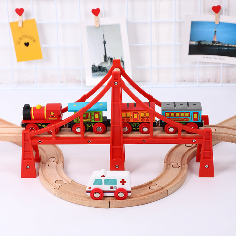 Wooden Train Track Accessories Track T-homas Red Bridge Track Scene Educational Toys Kids Birthday Gift