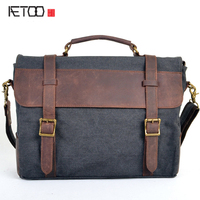 AETOO New canvas bag mad horse leather with a mantle canvas shoulder Messenger bag a generation on behalf of the cattle xx style