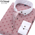 2016 Высокое Качество Мужские Рубашки Платья 11 цвета Рубашка Мужчины Причинно Полосатые Рубашки Мужчин Camisa Социальной Masculina Сорочка Homme S-4XL