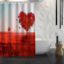 Nanaz Hot Sale Custom Nature Tree Heart Shower Curtain Waterproof Fabric For Bathroom