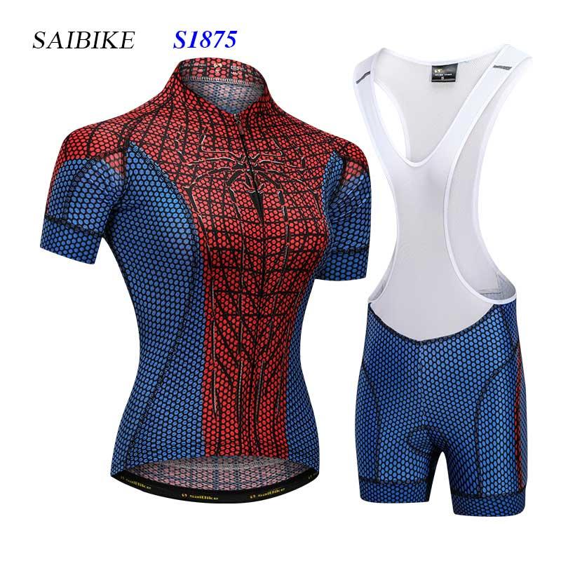 saiBike Super Hero cycling jersey sets spiderman women model cycling clothing summer short sleeves bike bicycle