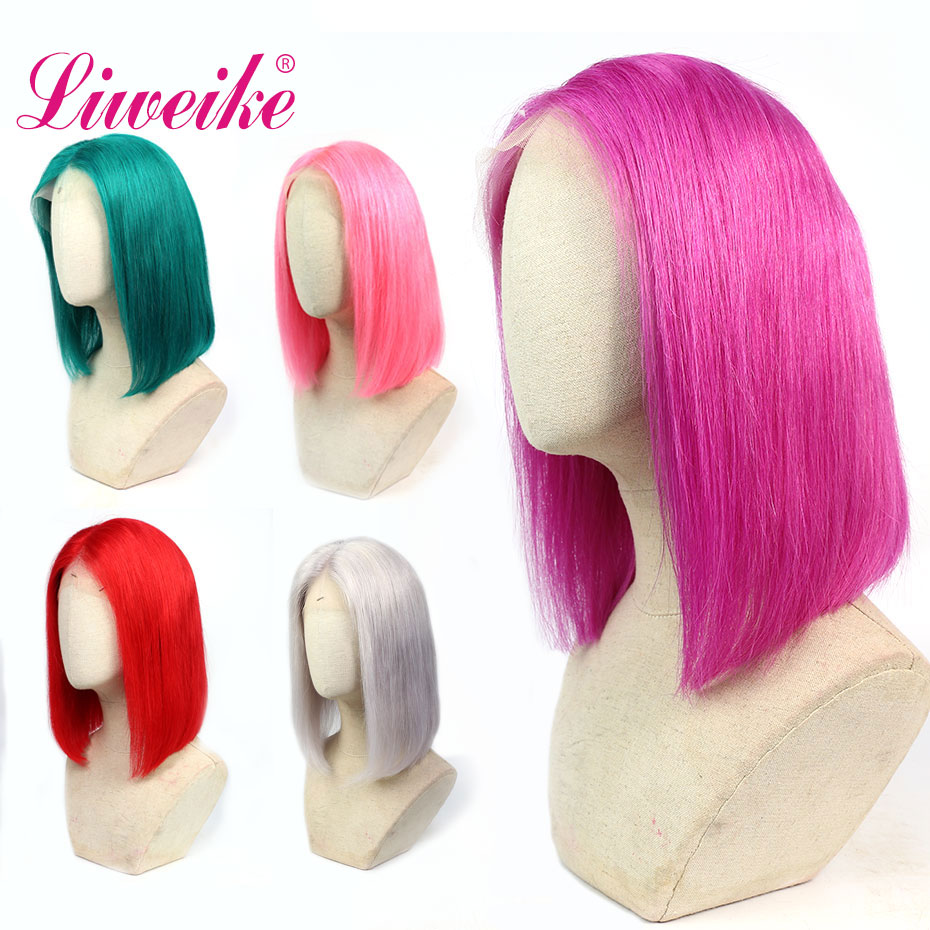 Liweike 5 Colors Short Bob Lace Front Wig Rosy Pink Color Green With Baby Hair Silver Grey Straight Human Red Frontal Wigs