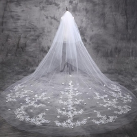 5 M Cathedral Wedding Veil 2017 Long Bride Lace Bridal Veil 5 Meters Wedding Accessories