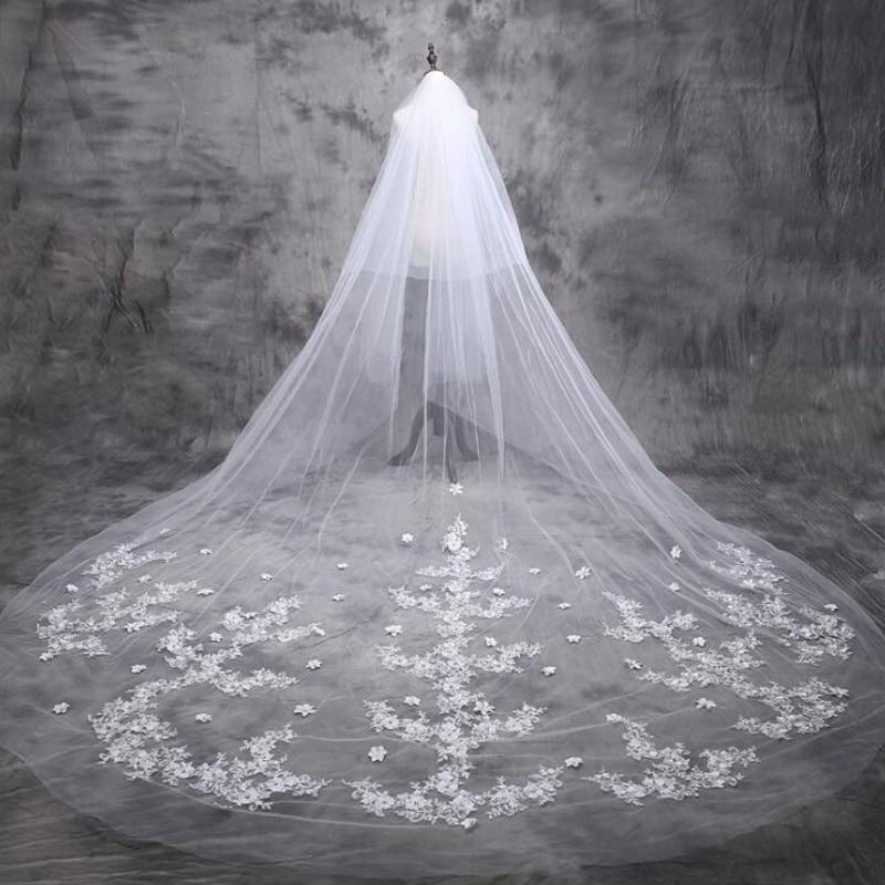5 m kathedraal bruidssluier 2017 lange bruid Lace bruidssluier 5 - Bruiloft accessoires