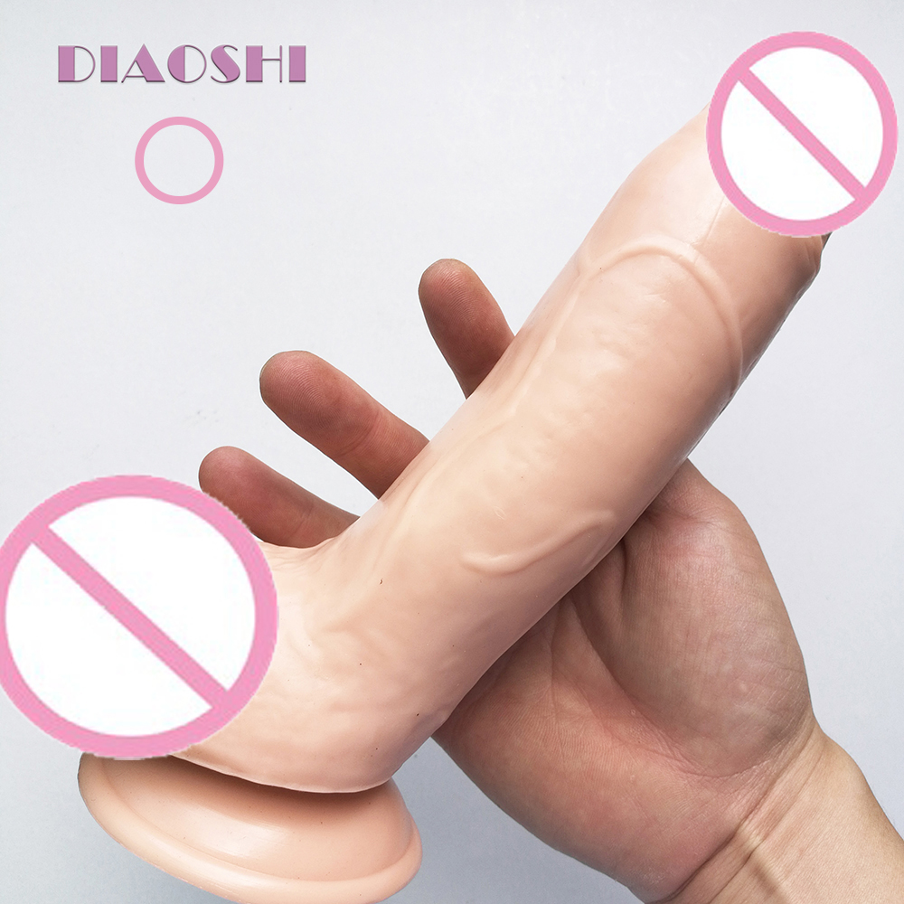 DIAOSHI 22.5cm Dong Realistic Dildo Super Thick Huge Dildo with Suction Cup and big testis for Women Masturbation anal penis
