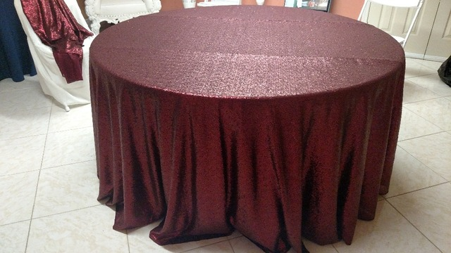 120 In Round Sequin Tablecloth For Wedding Party Burgundy Gold Silver Champagne Table