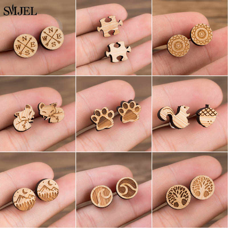 SMJEL Bohemia Wood Wooden Earings for Women Jewelry Flower Print Wave Tree Compass Small Earrings Piercing Jewelry Accessory