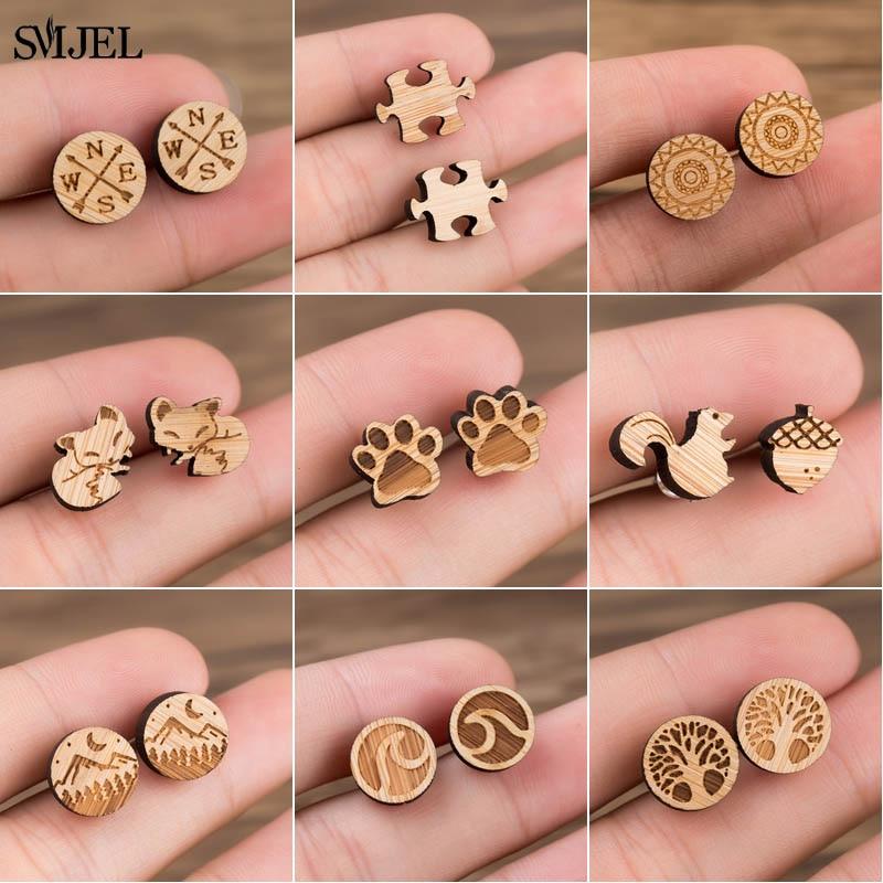 Деревянные серьги SMJEL в богемном стиле для женщин, ювелирные изделия, цветочный принт, волнистое дерево, компас, маленькие серьги, пирсинг, ю...