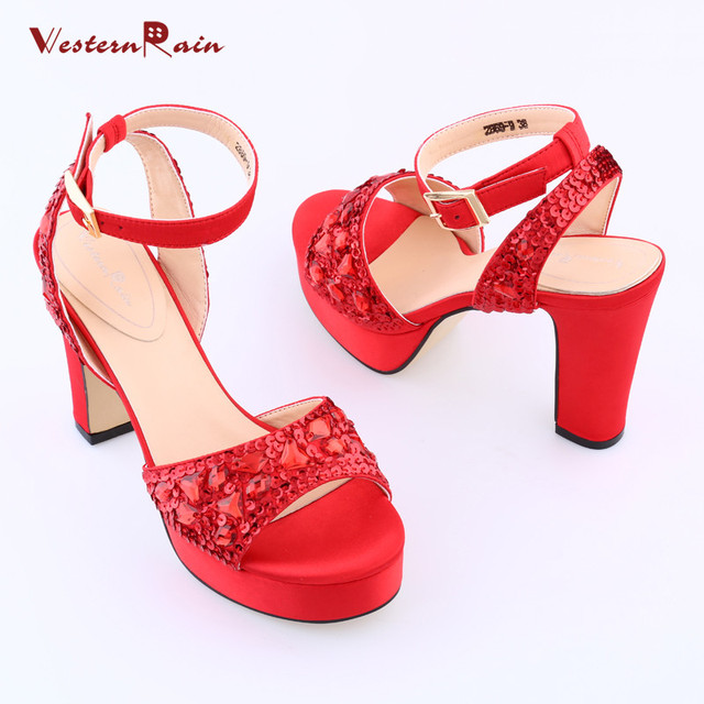 3adfbb8e44e6 WesternRain 2018 Real Ladies Shoes Sandalias Mujer Fashion Designer Brand  Italian red black sequins high heel sandals for ladies