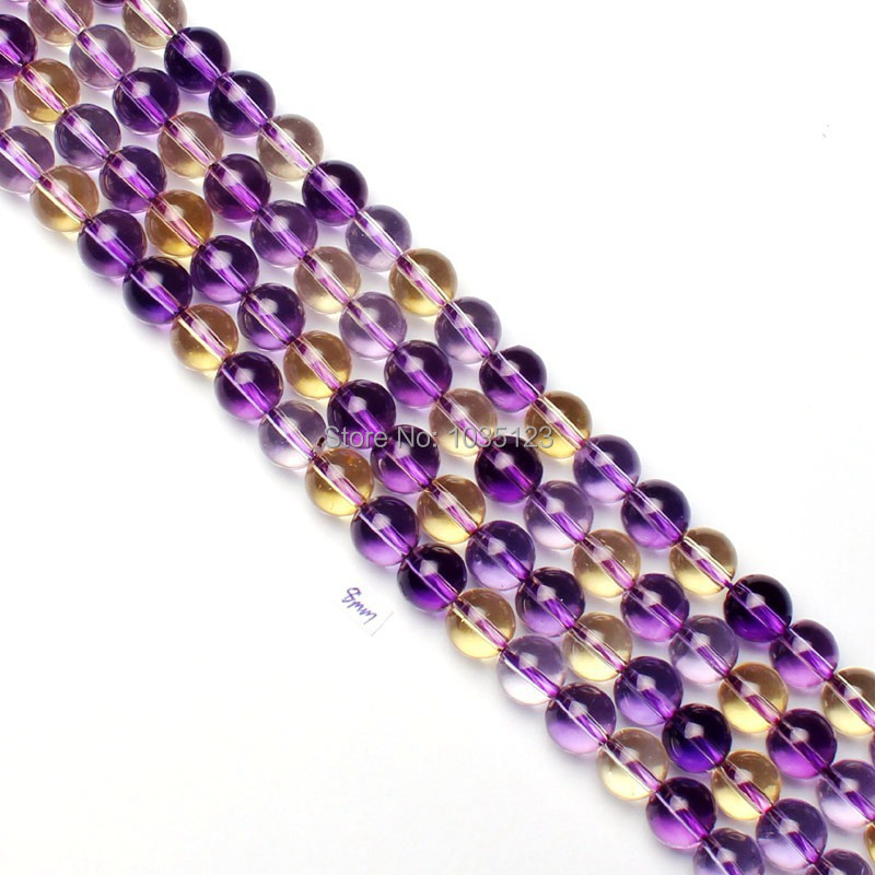 Free Shipping 8mm Pretty Ametrines Round Shape DIY Gems Loose Beads 15 Jewellery Making w1806