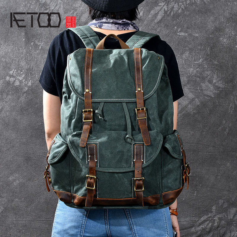 AETOO Super mens oil wax canvas backpacks Retro childrens wax oil canvas backpacksAETOO Super mens oil wax canvas backpacks Retro childrens wax oil canvas backpacks