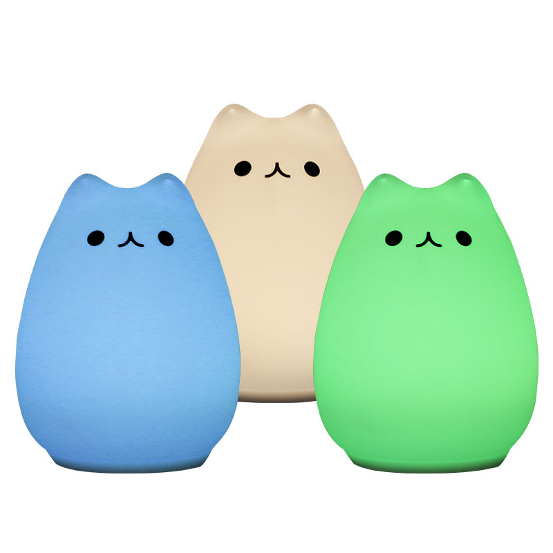Premium 7 Colors Cat LED USB Children Animal Night Light Silicone Soft Cartoon Baby Nursery Lamp Breathing LED Night Light colorful cat cartoon usb charging led night light