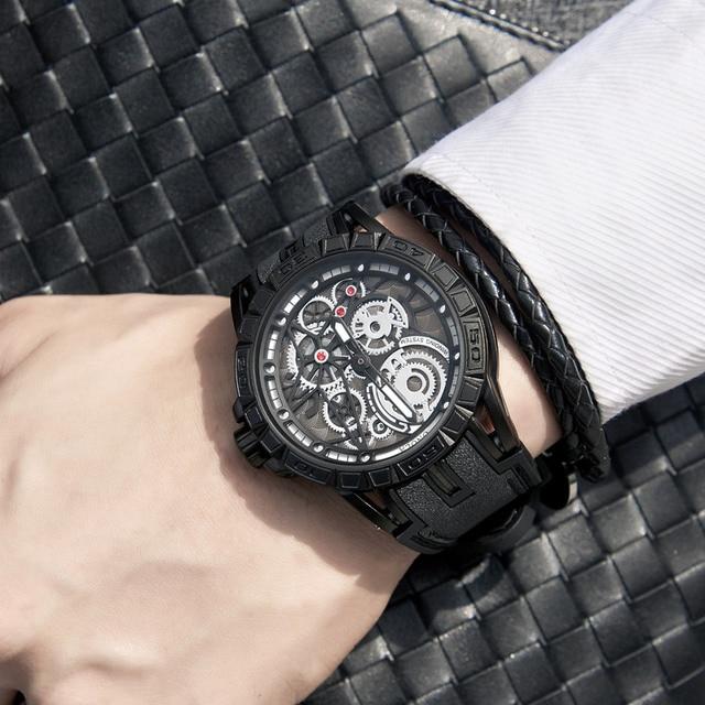 ONOLA Men's Unique Design Limited Military Black Mechanical Waterproof Japan Movement Quartz Watches 2