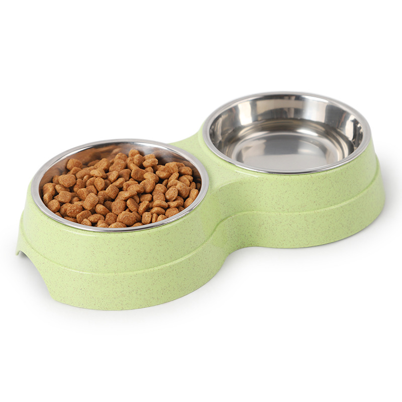 Dog Cat Feeder Bowl Diner Feeding Station Tray with Stand Animal Pet Food Holder Durable Stainless Steel Dual Double Diner Dish