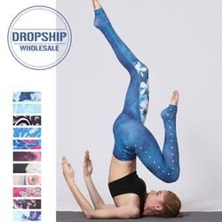 Винтаж фитнес брюки тонкие для йоги Высокая талия спортивные Леггинсы для женщин тренажерный зал обувь девочек эластичные печатных