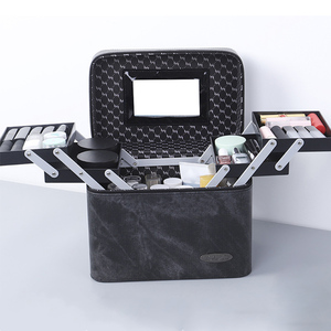 Image 2 - Bolsa de cosméticos de piel sintética de gran capacidad para mujer, estuche para bolsa de maquillaje, profesional, a la moda, organizador, caja de almacenamiento, Maleta