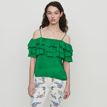 France style elegant ruffles Shirts Top 2019 summer women sweet green off-shoulder A308