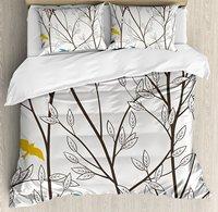 Nature Duvet Cover Set, Birds Wildlife Cartoon Like Image with Tree Leaf Art Print, 4 Piece Bedding Set