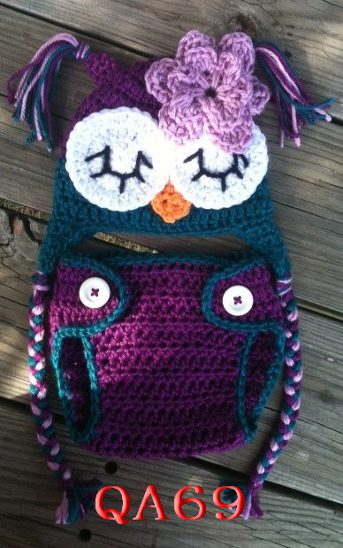 Free Shippingsuper Cute Handmade Purple Owl Hat And Diaper Cover