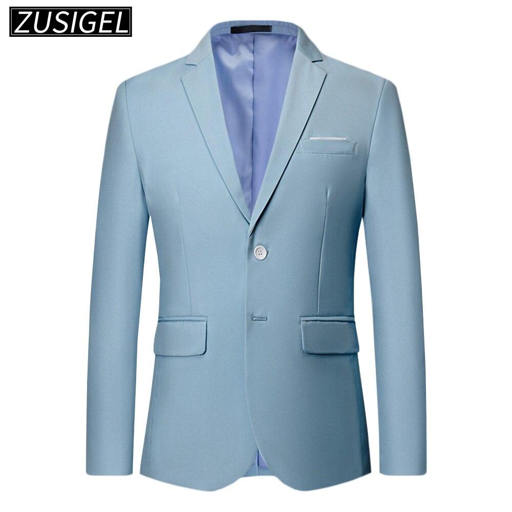 ZUSIGEL Men's Slim Fit Men Blazer Casual Two Button Flap Pockets Business Solid Sport Suits Jacket Costume