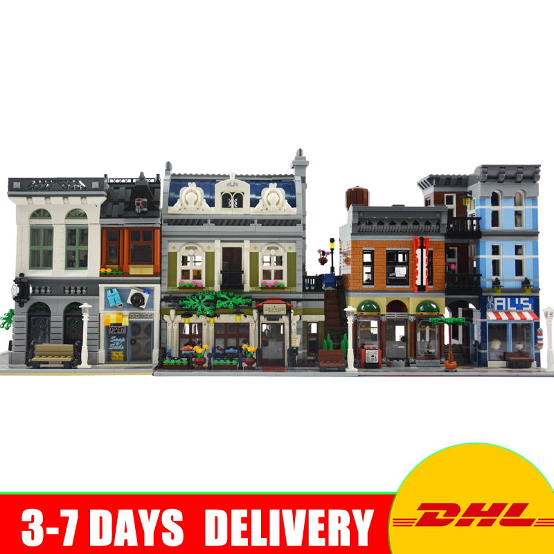 Modular MOC City Town Street LEPIN 15001 Bank 15010 Parisian Restaurant 15011 Detectives Office Model Building Kit Blocks 10246