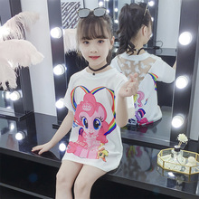 Baby Girls Summer Short Sleeve Dress Fashion Cartoon Animal Mesh Sexy Backless Evening Gown Christmas 4-12Y