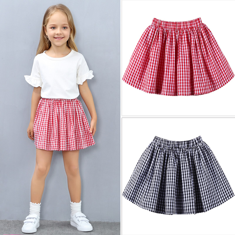 Cotton Skirts Girls Summer Tutu Skirt 2018 New Fashion Plaid School Girl Skirt Toddler Girl Clothing 3 11 Years Kids Clothes