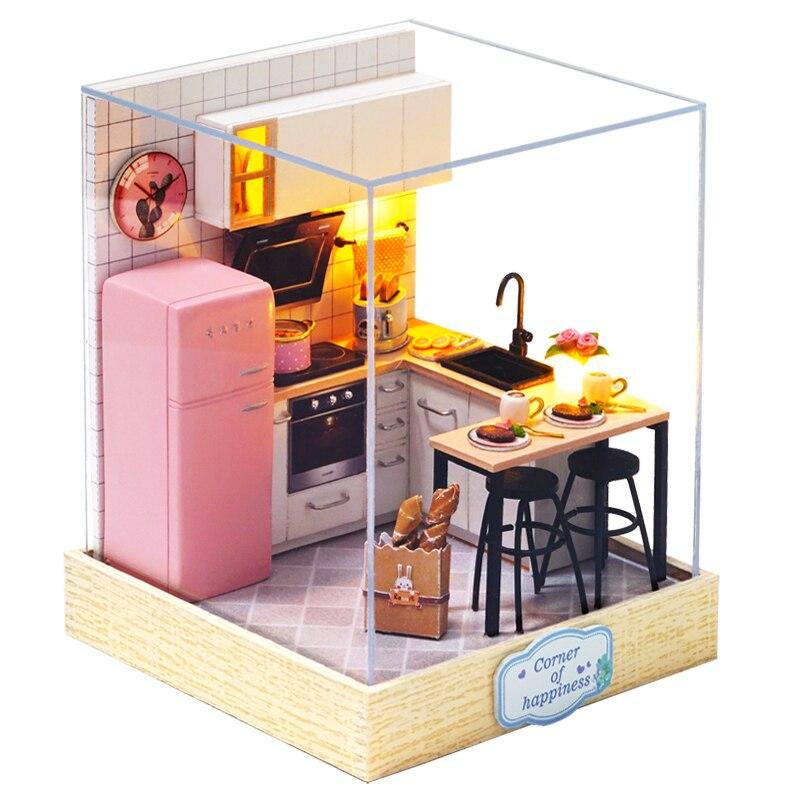 DIY Dollhouse Furniture Miniature Wooden Miniaturas Doll House Box Theatr Toys For Children Birthday Gifts Casa Seed World QT27