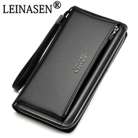 Vintage Genuine Leather Brand Business Wallet Pockets Long Double Zipper Purse Portfolio Money Clip Wallets Clutch Bag Men Purse