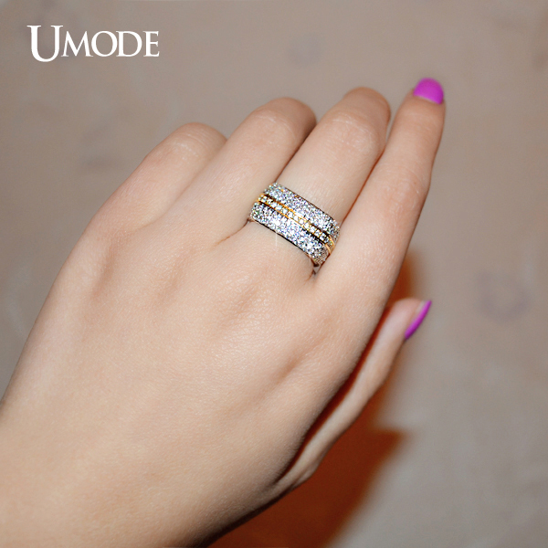 Umode Two Tone Gold Color Square Wedding Ring With Full Cubic Zirconia Paved Fashion Jewelry For Women Ur0198 In Rings From Accessories On
