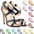 Versión Coreana de las mujeres Tacones Altos Sandalias Del Dedo Del Pie de Rocío Sexy Caramelo Zapatos de Leopardo de Color Famosa Marca de Lujo de Estilo Tamaño 35-42