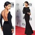 De Manga larga Negro Backless Selena Gomez Alfombra Roja de La Celebridad Vestidos 2016 Vestidos de Noche