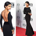 Long Sleeve Black Backless Selena Gomez Red Carpet Celebrity Dresses 2016 Evening Gowns