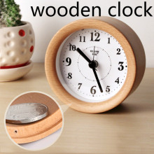 Wood Clock Genuine Creative alarm clock Bedside Watch Mute Personality Luminous Alarm Snooze Beech