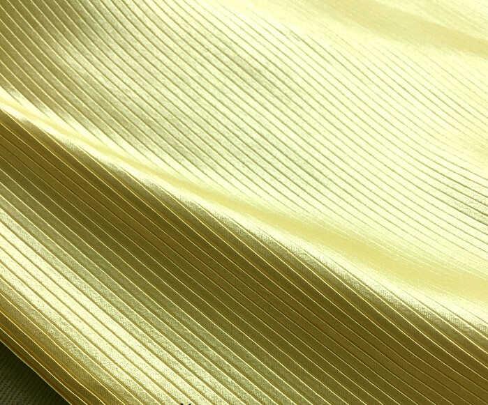 """2 м 150 см 59,05 """"Ширина желтого цвета с тонкими полосами мнется плиссе в гармошку сатин из искусственного шелка юбки, беспланая доставка MM323"""