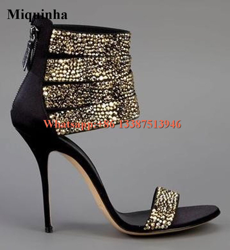 Summer Hot Sale Women Fashion Open Toe Bling Bling Gold Sliver Strap High Heel Sandals Ankle Wrap Gladiator Sandals Dress Shoes size 30 43 woman ankle strap high heel sandals new arrival hot sale fashion office summer women casual women shoes p19266