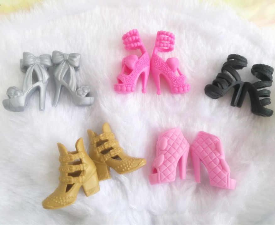 1 par de Sandalias de tacón 1/6 muñeca de moda Zapatillas bota muñeca zapatos para muñecas Barbie regalo de Navidad para niña