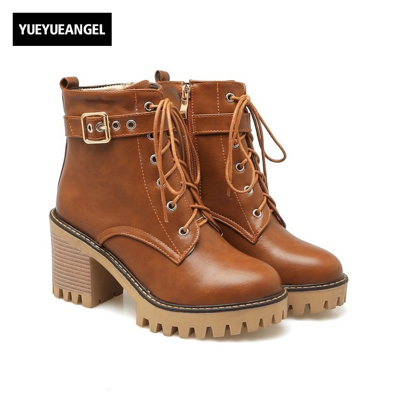 New Women Fashion Block Heel Shoes Buckle Lace Up Comfortable For Women Pu Leather High Heel Shoes Boots  Punk Round Toe Brown qiu dong in fashionable boots sexy and comfortable women s shoes the new national style high heel heel thick heel