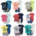Новый 2017, мальчик летней одежды установить, bebes новорожденных, 3 шт набор baby boy одежда, младенческая boyt одежда