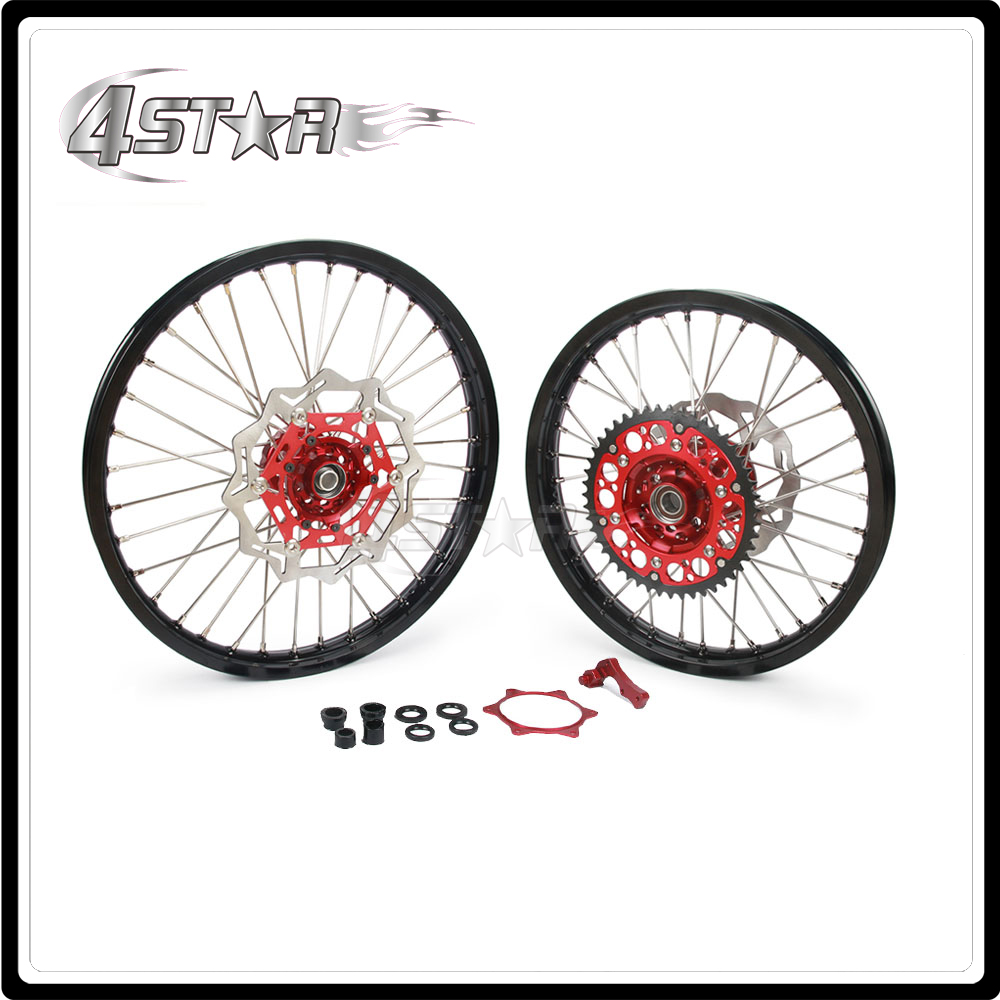 Motorcycle Wheel Rim Hubs Set 1.6*21 2.15*18 For HONDA CRF250R CRF 250R 2014 CRF450R CRF 450R 2013 2014 2015 2013-2015 for honda crf 250r 450r 2004 2006 crf 250x 450x 2004 2015 red motorcycle dirt bike off road cnc pivot brake clutch lever