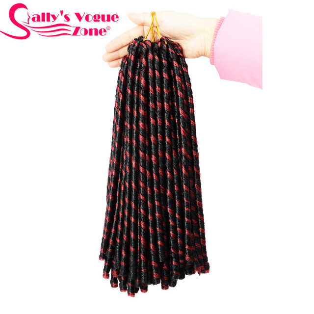 Sallyhair 14inch 70g/pack Faux Locs Synthetic Braiding Hair Extensions Afro Hairstyles Soft Dreadlock Brown Black Crochet Braids 4