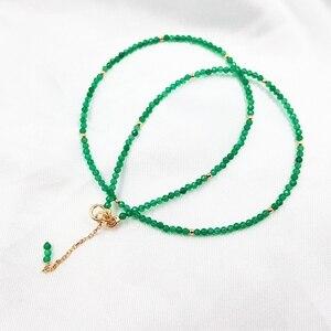 Image 3 - LiiJi 독특한 진짜 녹색 오닉스 2mm 작은 구슬 925 스털링 실버 옐로우 골드 컬러 초커 빛나는 목걸이