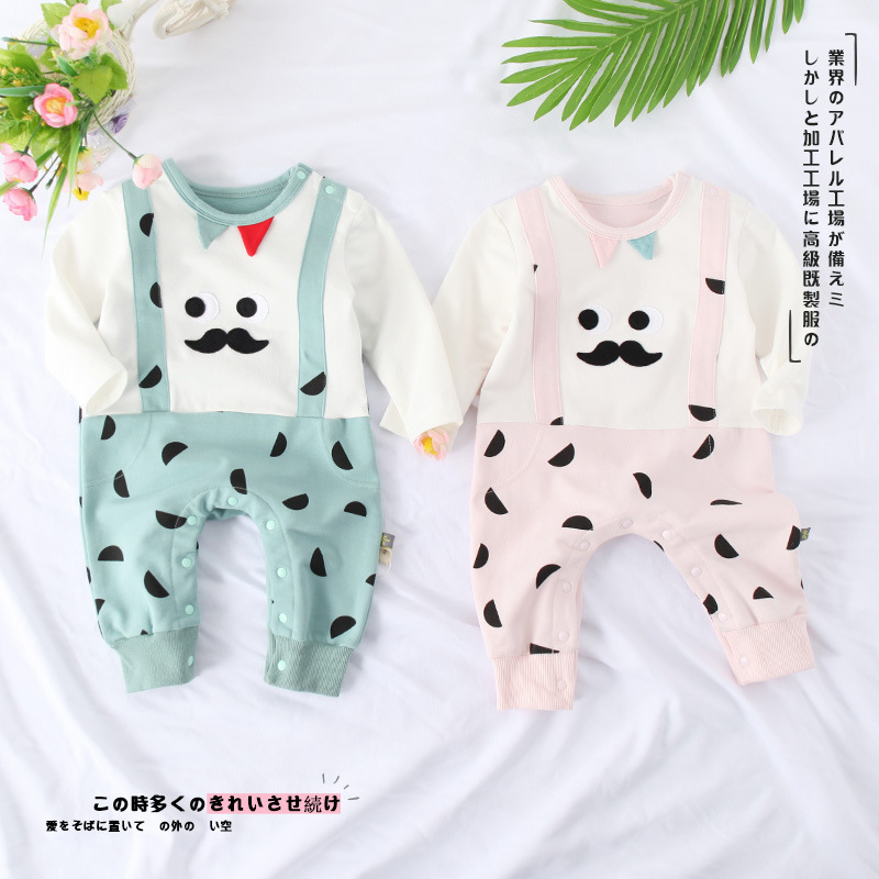 2018 Spring and Autumn British Gentlemen Wear Small Moustache Casual Baby Climbing Clothes.