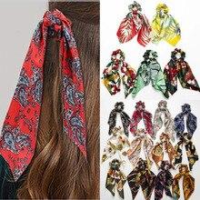 Эластичные резинки для волос в богемном стиле, с цветочным принтом, с узлом ленты, конский хвост, шарф, резинки для волос для женщин и девушек, кольца для волос