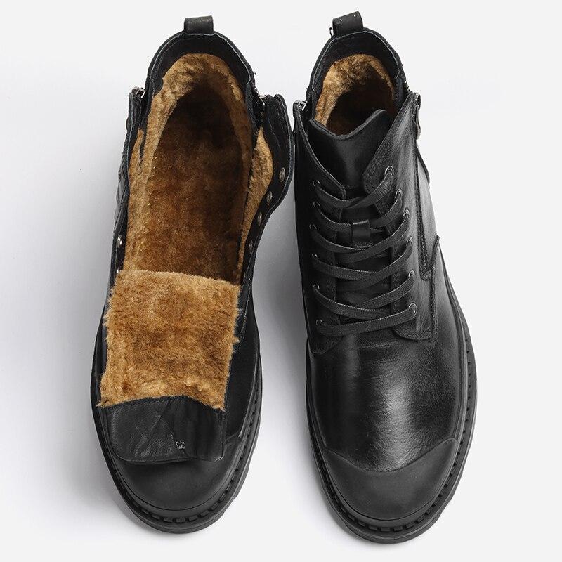Natural Cow Leather Men Winter Boots 2018 Handmade Retro Men Shoes #CX9550JM
