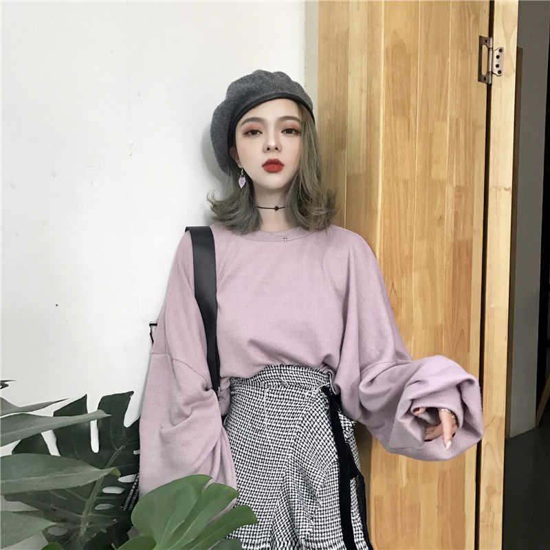 אביב נשים קוריאני חולצות ארוך שרוול פנס עצלן סגנון פשוט מוצק צבע Bf רוח Loose סוודרי נקבה מזדמנים Hoodis