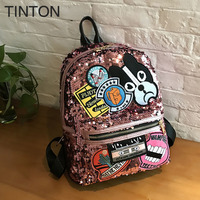 2018 New Creative Animal Printing Backpack Pu Leather Blingbling Shoulder Bags Large Capacity Ladies School Bag